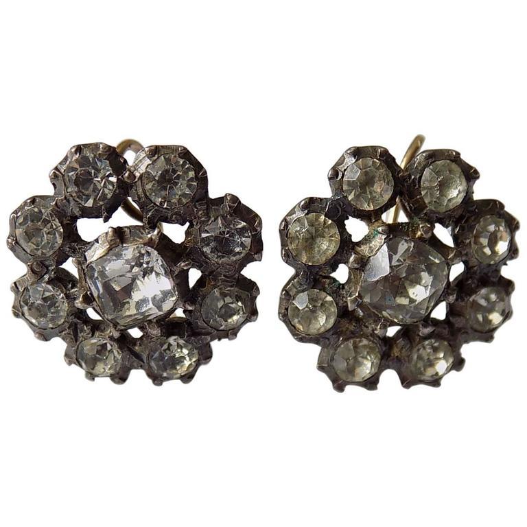 Antique Georgian Paste Cluster Earrings