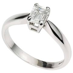 Emerald Cut Diamond Ring 0.73 Carat