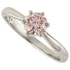Fancy Intense Enhanced Pink Diamond Ring 0.66 Carat