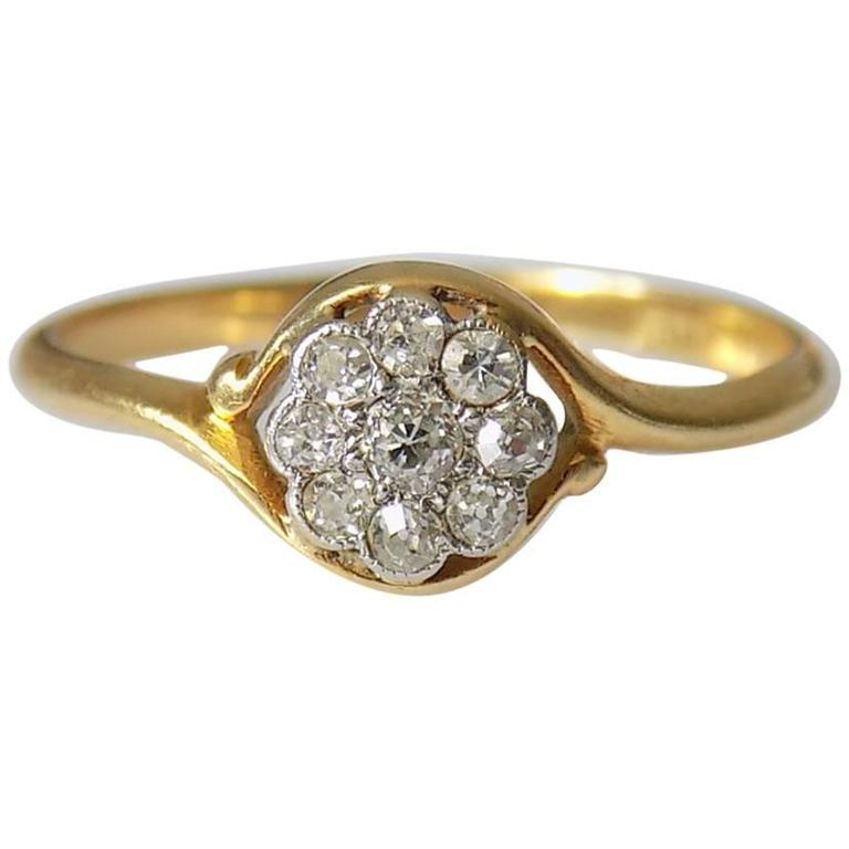 18K Antique Edwardian Old European Cut Diamond Gold Daisy Ring For Sale