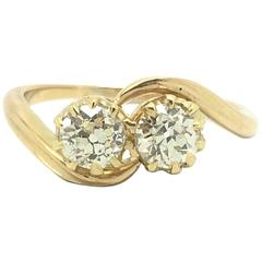 Old Cut Diamond Yellow Gold Two Stone Toi-et-Moi Bypass Ring