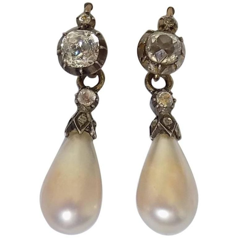 Antique Georgian Pearl Paste Drop Earrings