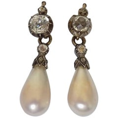 Yellow Gold Antique Georgian Pearl Paste Drop Earrings