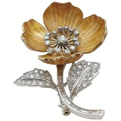 Boucheron Diamond Enamel Eglantine Flower Brooch