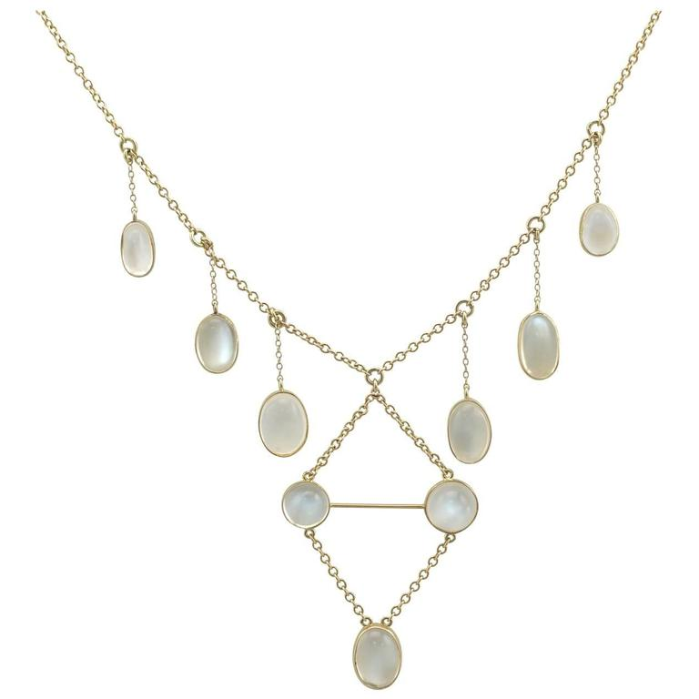 Quality Moonstone Necklace Gold Chain 15.5