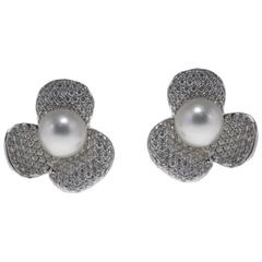 Luise Australian Pearl Diamond Gold Flower Shaped Earrings