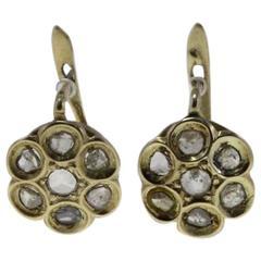 Luise Diamond Yellow Gold Flower Shaped Earrings