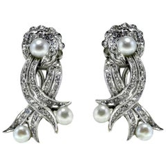 Pearl Diamond White Gold Earrings