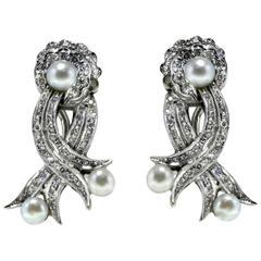 Pearl Diamond White Gold Earrings
