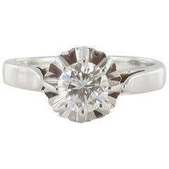 French 1960s Retro White Gold 0.60 Carat G.VVS Diamond Ring