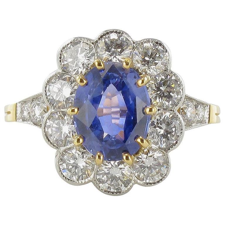 French 2.75 Carat Ceylon Sapphire 1.62 Carat Diamond Gold Platinum Ring