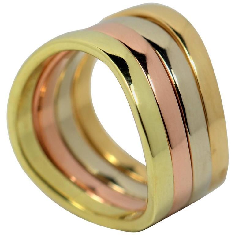 1970s Dinh Van Yellow Rose White Gold Four Ring Set at 1stdibs