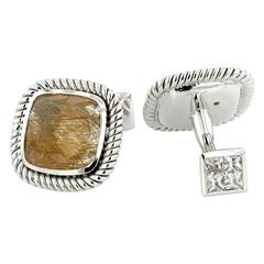 Cufflinks White Gold 18 Karat 22.10 Rutiled Quartz 15.43 Carat
