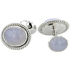 Cabochon Chalcedony White Gold Cufflinks