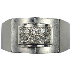 French 1935 Modernist White Diamond Platinum Ring