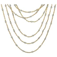French White Natural Pearl Yellow Gold Long Chain Necklace