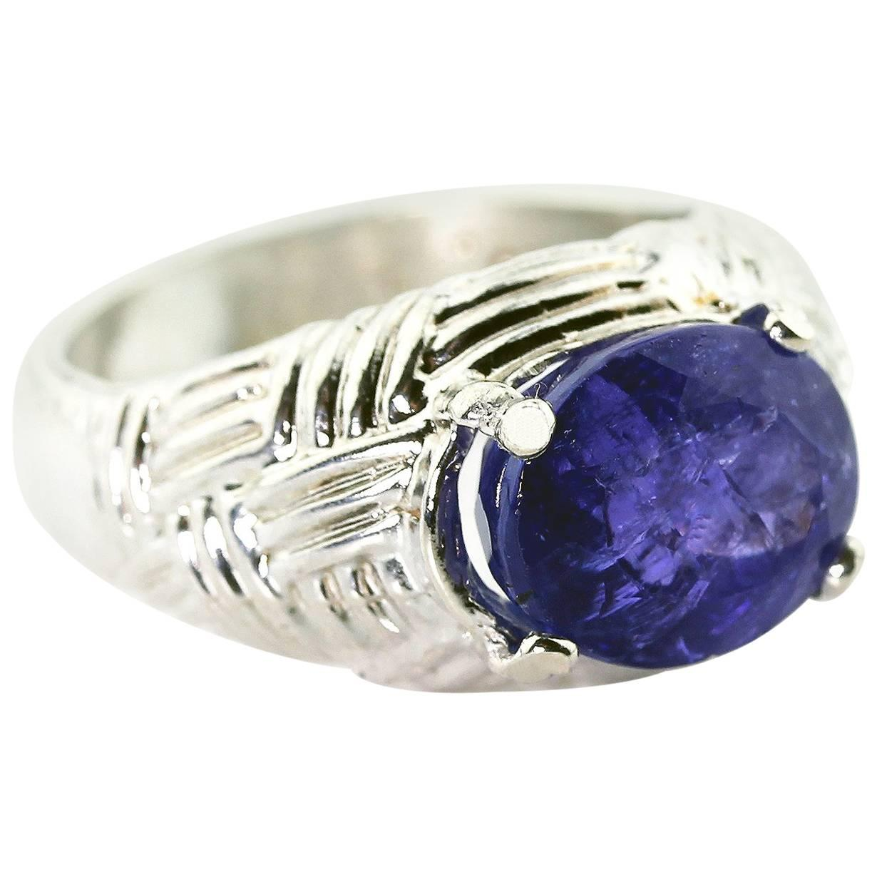 Gemjunky Bright Sparkly 5.68 Ct Sparkling Purply-Blue Tanzanite Cocktail Ring