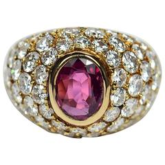 1950s French Red Ruby White Diamond Gold Bombe Ring