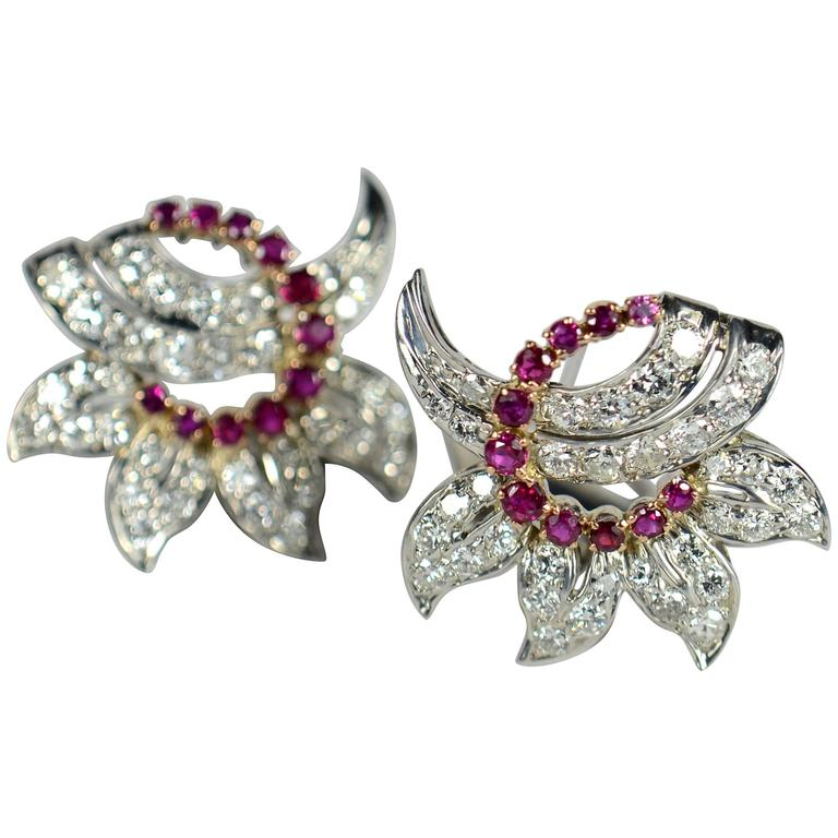 Ruby Diamond Gold Floral Clip Earrings, circa 1950