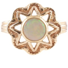 Round Opal Gold Ring