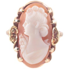 Green Yellow Gold Carved Cameo Ring, circa 1950