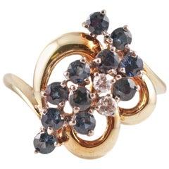 Blue Sapphire Diamond Ring in Gold