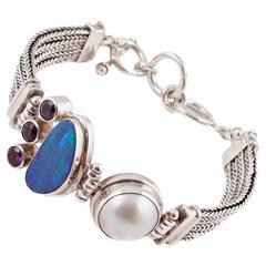 Opal Amethyst Mabe Pearl Sterling Silver Bracelet