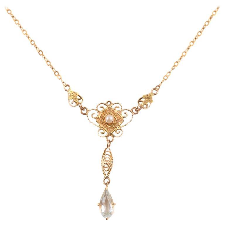 Pearl Aquamarine Gold Lavalier