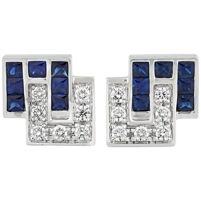Sapphire and Diamond Cufflinks, 5.36 Carat