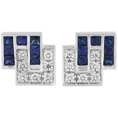 Sapphire and Diamond Cufflinks, 5.36 Carat