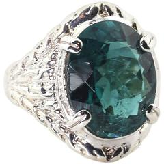 8 Carat Blue Green Indicolite Tourmaline Sterling Silver Cocktail Ring
