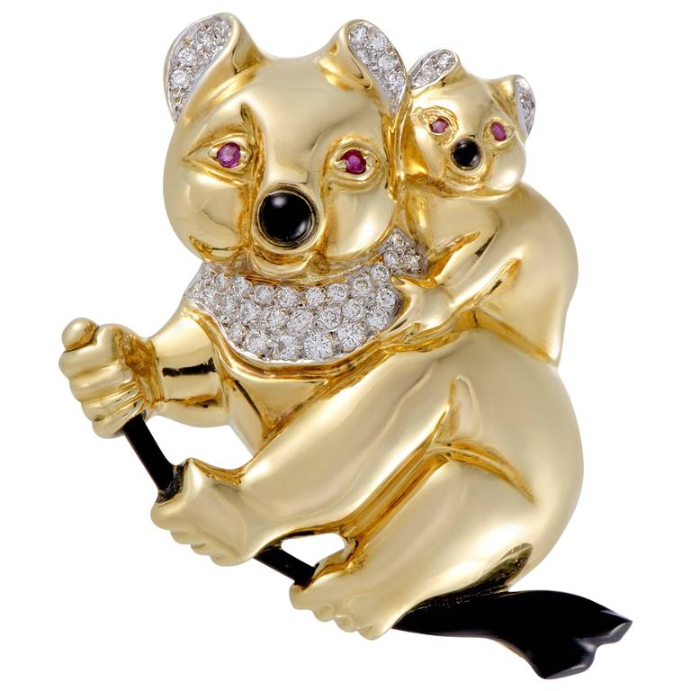 Cellini Diamond Ruby and Onyx Yellow Gold Koala Bears Brooch