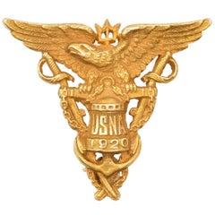 1920 Bailey Banks and Biddle 14 Karat Yellow Gold US Navy Pin
