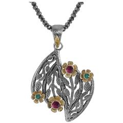 Pommona Emerald and Pink Tourmaline 18 Karat Gold & Silver Flower Pendant