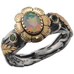 Stella Mary Emerald Opal Gold & Silver Ring