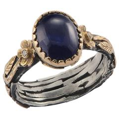 Emma Chapman Blue Sapphire Diamond 18 Karat Yellow Gold Silver Ring