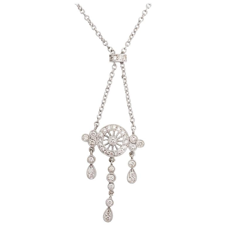 Chandelier Drop Diamond Gold Chain Necklace