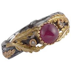 Emma Chapman Ruby Diamond Yellow Gold Silver Ring
