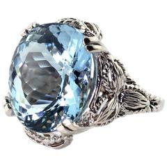 13.5 Carat Blue Aquamarine Cocktail Ring