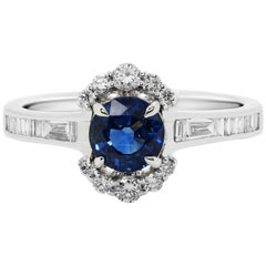 Blue Sapphire Round Diamond Half Halo Gold Bridal Fashion Ring