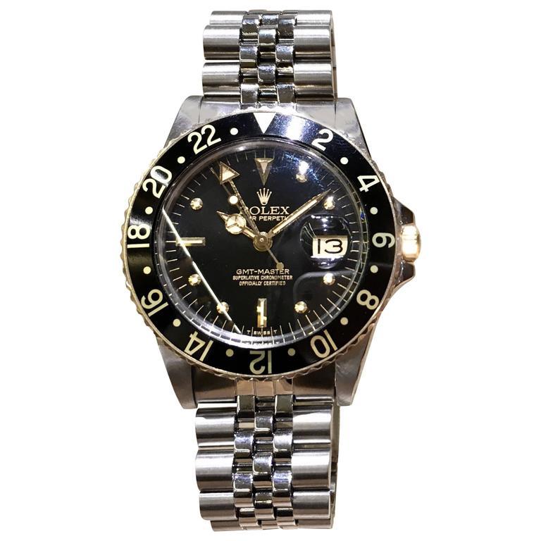 Rolex Stainless Steel GMT Black dial Date Wristwatch Ref 16753, circa 1980