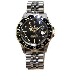 Rolex Stainless Steel GMT Black dial Date Wristwatch Ref 16753, circa 1980