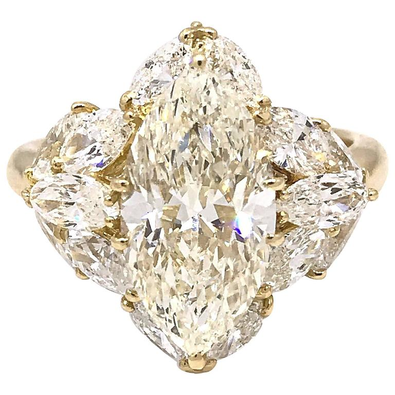 3 06 Carat Marquise Diamond Ring with Marquise Side Diamonds in