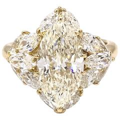 3.06 Carat Marquise Diamond Ring with Marquise Side Diamonds in Yellow Gold