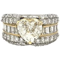 3.62 Carat Heart-Shape Diamond Platinum Ring with Rounds and Baguettes