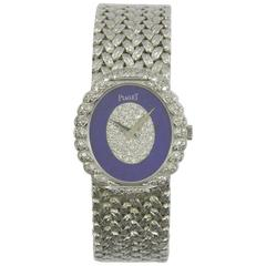 Piaget Ladies White Gold Pavé Diamond Lapis Lazuli Dial Wristwatch
