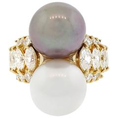 Black and White South Sea Pearl Diamond Yellow Gold Ring