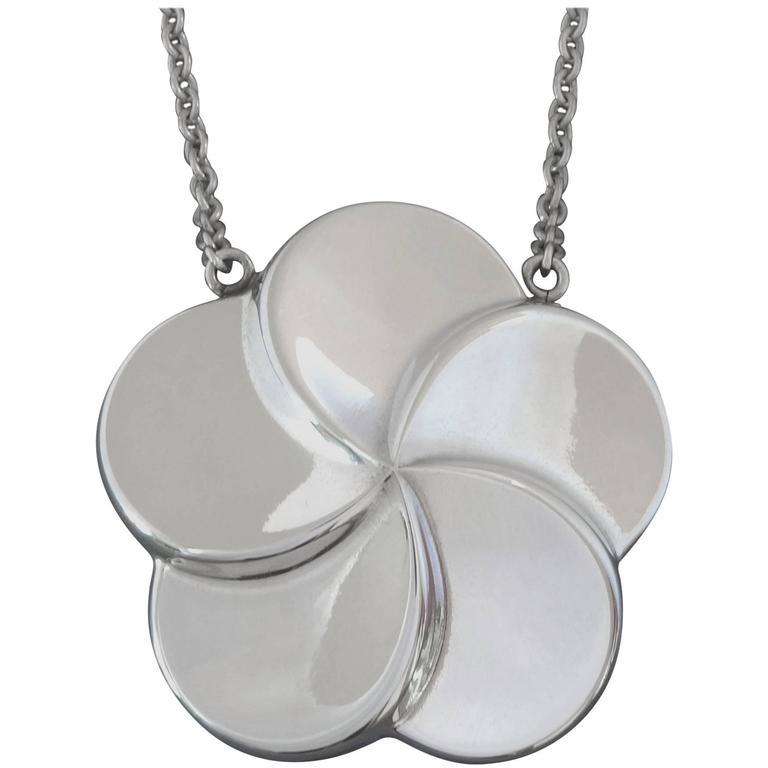 Georg Jensen Scandinavian Modern Large Stylized Flower Silver Pendant Necklace