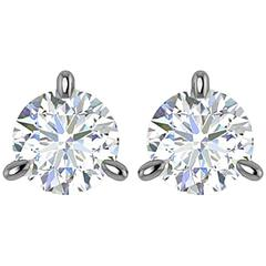 Ferrucci GIA Certified 1.92 Carat D Color, If Internally Flawless Martini Studs