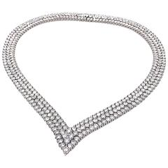 41.25 Carat Fine Diamond Platinum Three Row V-Shape Choker Necklace